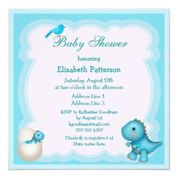 Newly Hatched Baby Boy Dinosaur Baby Shower Card