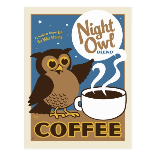 Night Owl Coffee Postcard