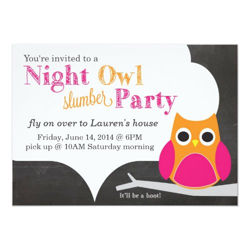 Night Owl Slumber Party Invitation