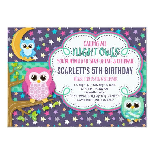 Night Owls Sleepover Birthday Party Invitation