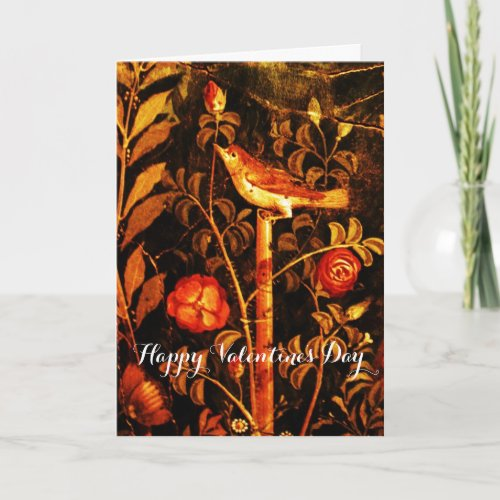 NIGHTINGALE WITH ROSES Valentine's Day Holiday Card