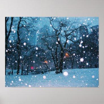 Nighttime City Snow Poster
