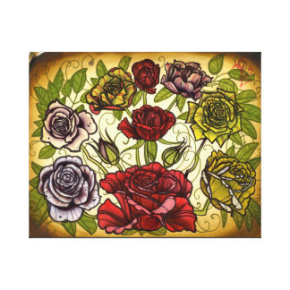 large canvas print of rose tattoo flash