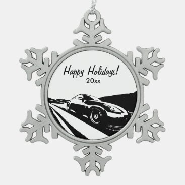 Nissan 350Z Rolling shot Snowflake Pewter Christmas Ornament