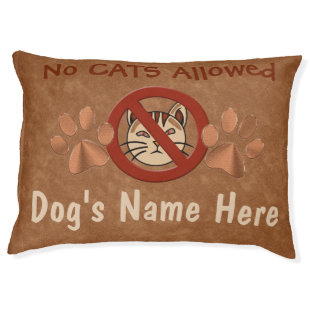 No Cats Allowed Personalized Dog Beds 2 Text Boxes Large Dog Bed