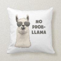 No Problem Llama Throw Pillow