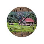 North Georgia Farm House Home Decor Round Clock