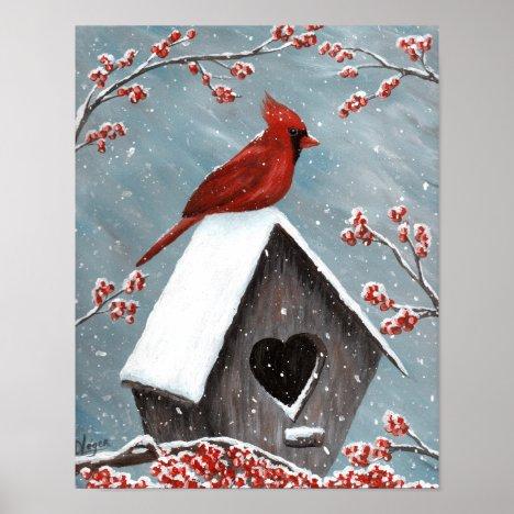 Northern Cardinal Winter Snow Poster