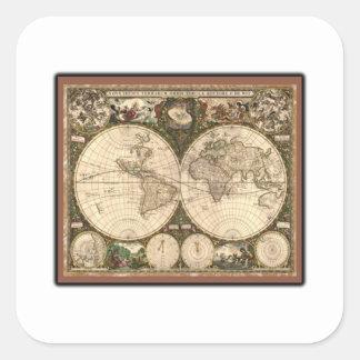 Nova totius terrarum orbis tabula auctore square sticker