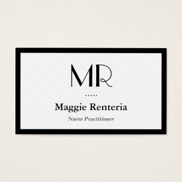 Nurse Practitioner - Clean Stylish Monogram Business Card