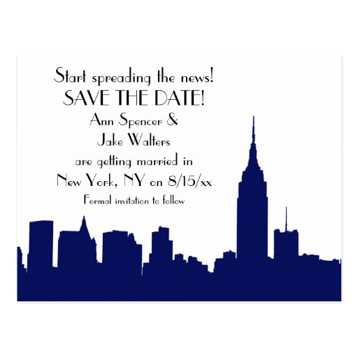 NYC Navy Blue Skyline Silhouette Save the Date Postcard ...