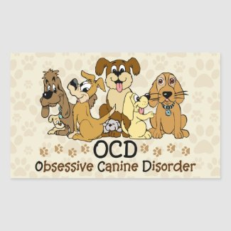OCD Obsessive Canine Disorder Rectangular Sticker