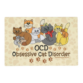 OCD Obsessive Cat Disorder Laminated Placemat