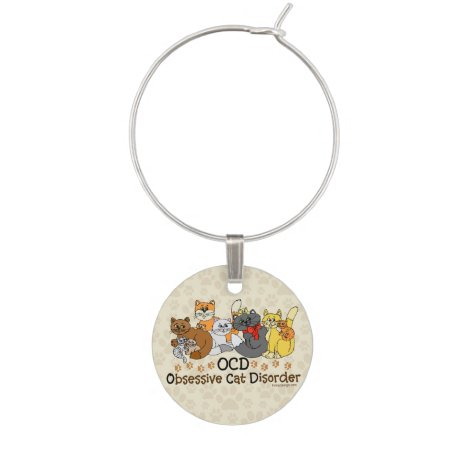 OCD Obsessive Cat Disorder Wine Charm
