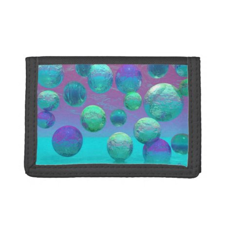 Ocean Dreams, Abstract Aqua Violet Ocean Fantasy Tri-fold Wallet