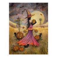 October Fields Witch and Cat Art by Molly Harrison Posters