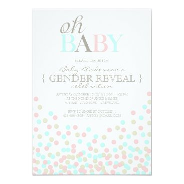 Oh Baby Confetti Gender Reveal Party | Pink Blue Card