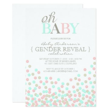 Oh Baby Confetti Gender Reveal Party | Pink Blue Invitation