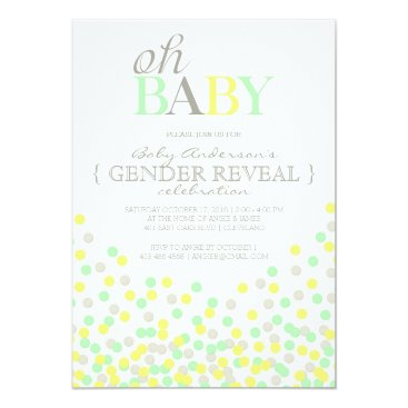 Oh Baby Confetti Gender Reveal Party | Yellow Aqua Invitation