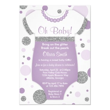 Oh Baby Girl, Baby Shower Invitation, Faux Glitter Invitation