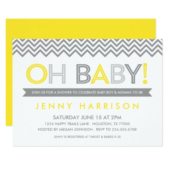Oh Baby Gray And Yellow Shower Invitation