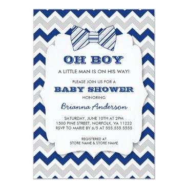 OH BOY Bow tie baby shower / navy gray chevron Invitation