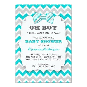OH BOY Bowtie baby shower / turquoise gray chevron Invitation