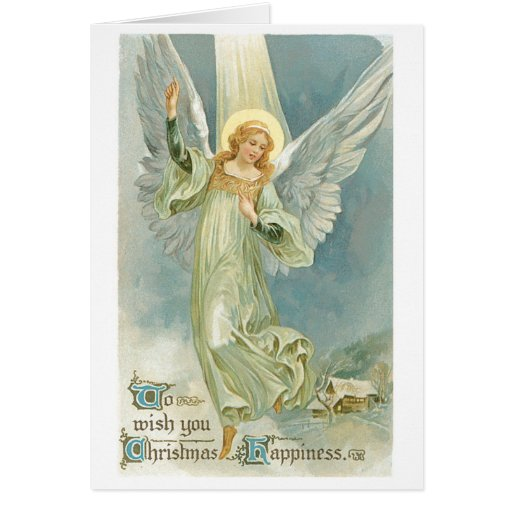 Old Fashioned Christmas Angel Gloria Greeting Card Zazzle