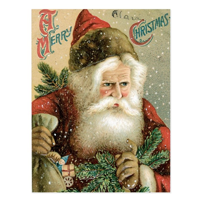 Old Fashioned Merry Christmas Santa Claus Postcard Zazzle