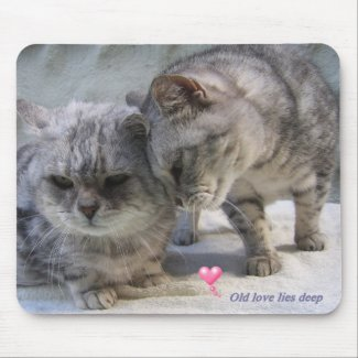 Old love lies deep - cat mousepad mousepad