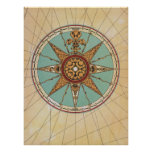 Old Renaissance windrose compass rose map print