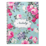 Old Roses & Butterfly Custom Name Gift Notebooks