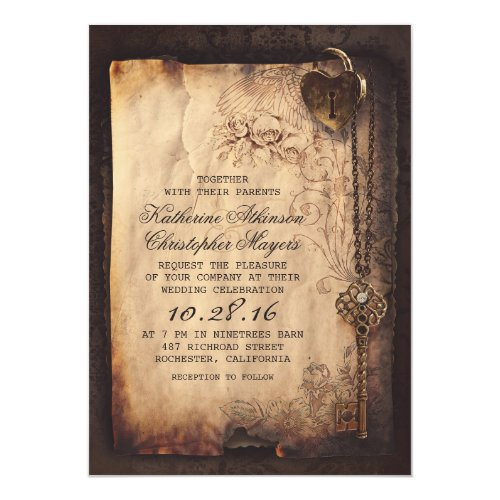 Old Skeleton Key Vintage and Gothic Wedding Invitation