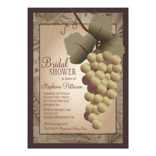 Old World Tuscan Gvine Wine Bridal Shower Personalized Invites