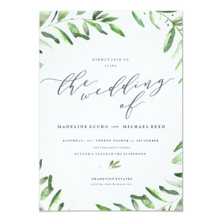 Spring Wedding Olive Branch Boho Garden Invitation