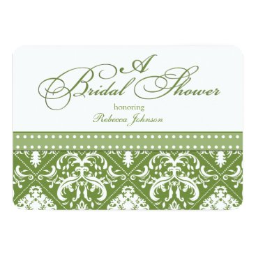 Olive Green and White Damask Bridal Shower Invitation