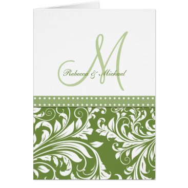 Olive Green & White Flora Damask Thank You!