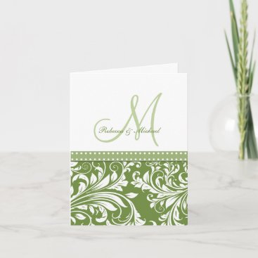 Olive Green & White Flora Damask Thank You! Thank You Card