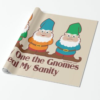 One by one the Gnomes Funny Design Wrapping Paper