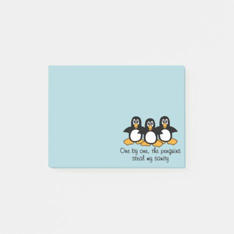 One by One The Penguins Funny Saying Design Blue Post-it Notes