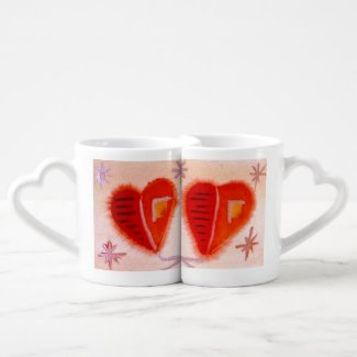 ...open hearts...art by Jutta Gabriel... Couples' Coffee Mug Set