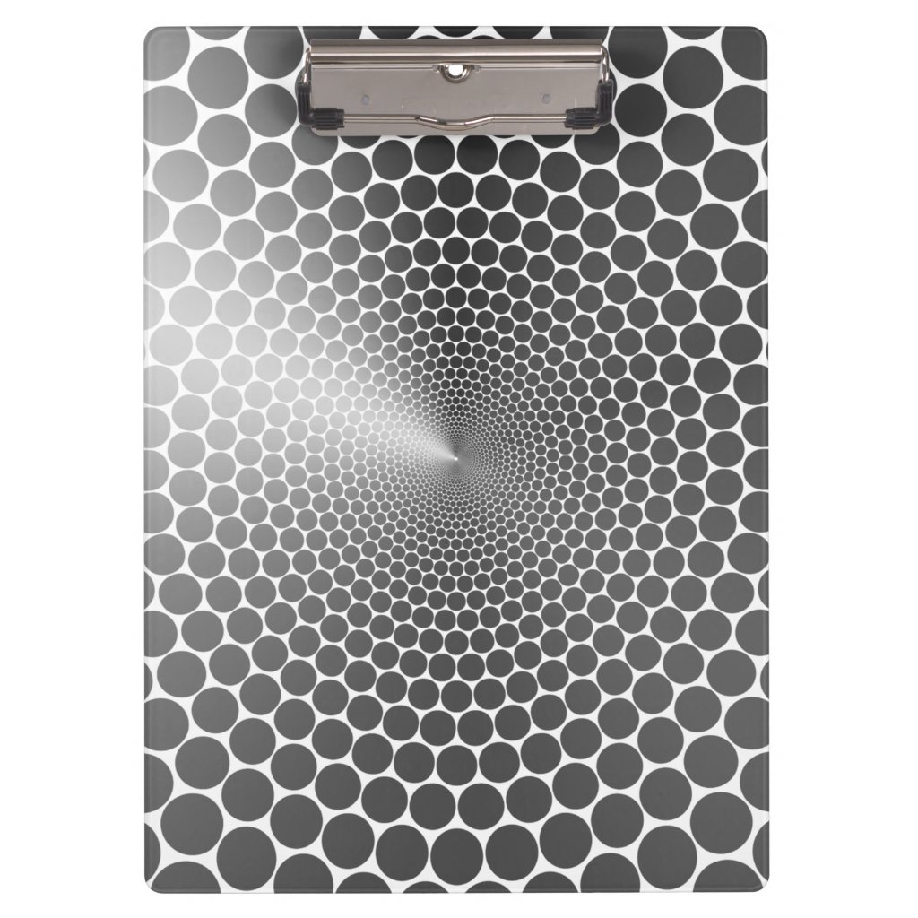 Optical Illusion Angle Gradient NOIR Silver/White Clipboard