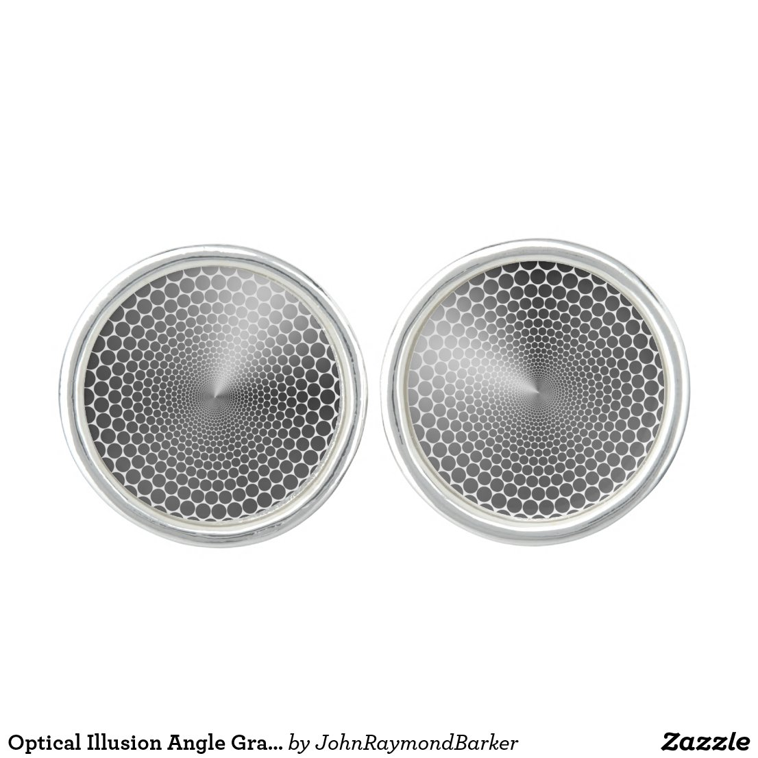 Optical Illusion Angle Gradient NOIR Silver/White Cufflinks