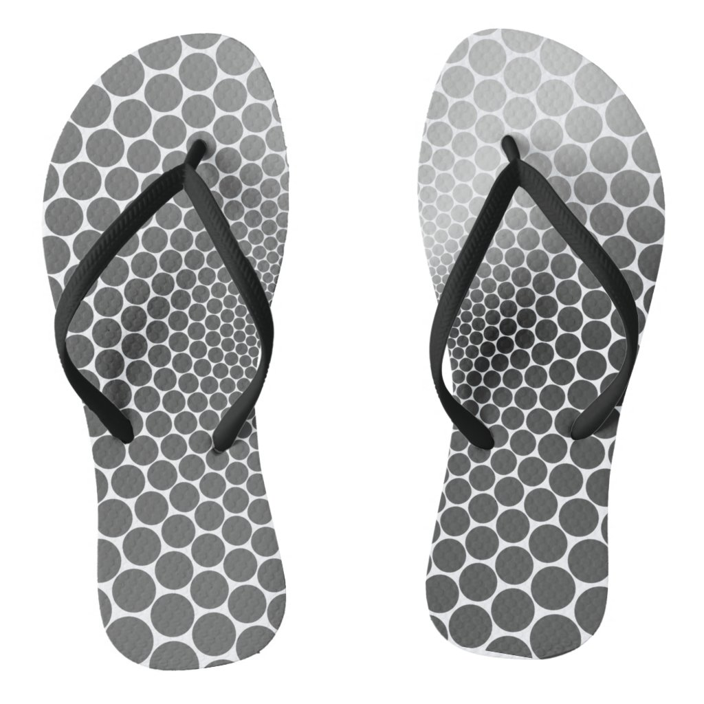 Optical Illusion Angle Gradient NOIR Silver/White Flip Flops