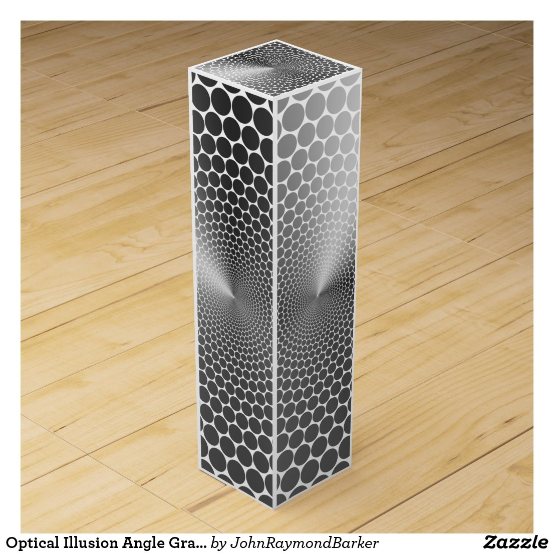 Optical Illusion Angle Gradient NOIR Silver/White Wine Box