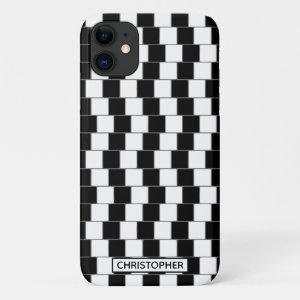 Optical Illusion Lines Squares Black   Personalize iPhone 11 Case