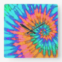 Orange and Blue Tie Dye Clock