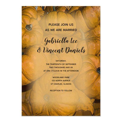 Orange Autumn Pumpkins Wedding Invitation