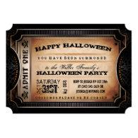 Orange & Black Admit One Halloween Party Ticket 5x7 Paper Invitation Card