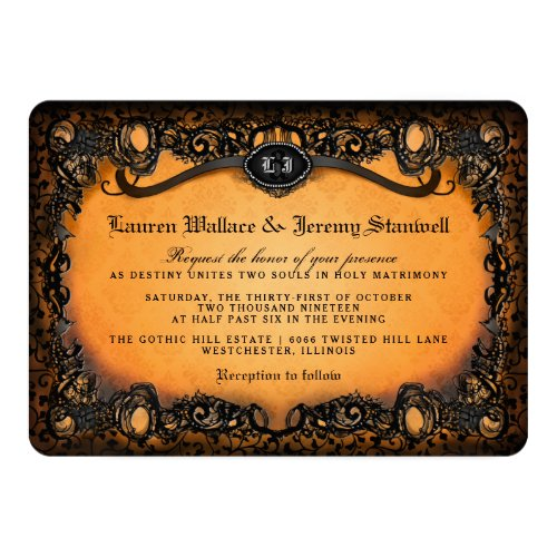 Orange Black Elegant Lace Halloween Wedding Invite